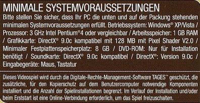 Systemvoraussetzungen zum spielen von Anno 1404