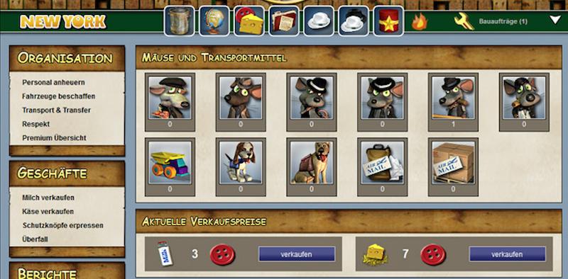 Das Hauptquartier im Onlinespiel Micemafia