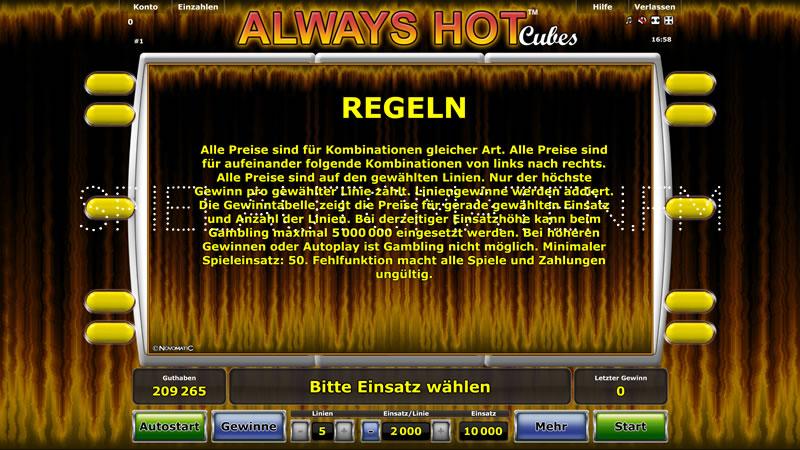 Always Hot Cubes Spielautomat - Jetzt online gratis spielen