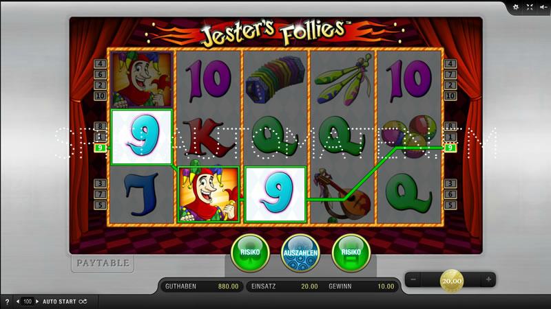 Am Merkur Spielautomaten Jesters Follies online spielen.