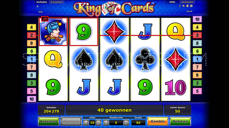 test online casino king of cards