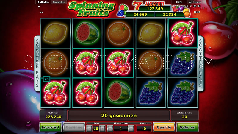 spinning fruits spielen