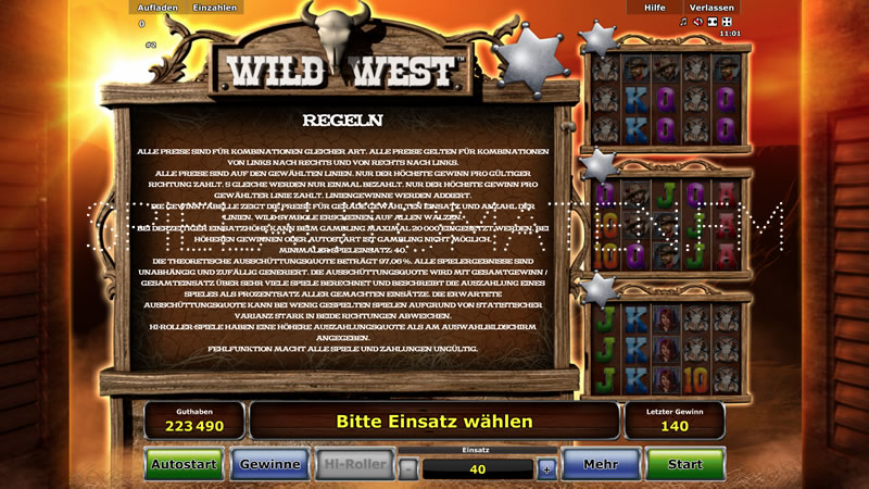 wild west spiel